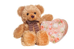 Toy bear holding heart-shaped present box Stock Photos