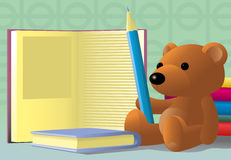Toy bear with pencil. Toy bear-cub with pencil & books on table Royalty Free Stock Photography