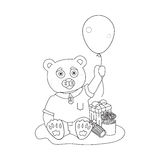 Toy bear with present boxes and balloon. Coloring Royalty Free Stock Image