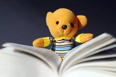 Toy bear reading. Book,very interesting Stock Photo