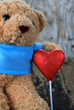 Toy bear and red heart Royalty Free Stock Image