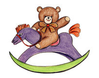 Toy bear and rocking horse Royalty Free Stock Images