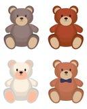 Toy bear set. Isolated on white background. Vector illustration Stock Images