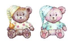 Toy Bear si è vestito nell'illustrazione dell'acquerello dei pigiami Immagine Stock