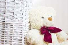 Toy bear is sitting on wicker basket Royalty Free Stock Photo