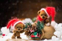 Toy bears in christmas interior Stock Photos