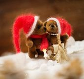 Toy bears in christmas interior Stock Photography