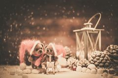 Toy bears in christmas interior Stock Image