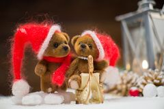 Toy bears in christmas interior Royalty Free Stock Photos