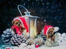 Toy bears in Christmas still life Royalty Free Stock Photos