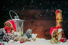 Toy bears in Christmas still life Stock Photography