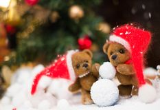 Toy bears in Christmas still life Royalty Free Stock Image