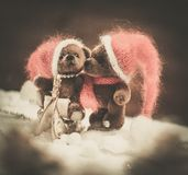 Toy bears in Christmas still life Stock Photos