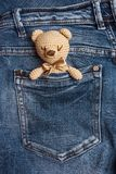Toy bears in a jeans pocket. Vertical. stock photo