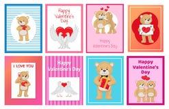Toy Bears molle sveglio e colombe bianche nell'insieme di amore Immagini Stock