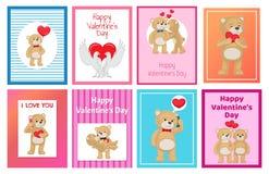 Toy Bears molle sveglio e colombe bianche nell'insieme di amore Immagine Stock Libera da Diritti