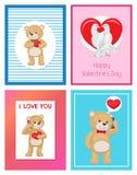 Toy Bears molle sveglio e colombe bianche nell'insieme di amore Fotografie Stock Libere da Diritti