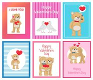 Toy Bears molle sveglio e colombe bianche nell'insieme di amore Fotografia Stock Libera da Diritti