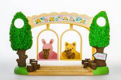 Toy bears on swings Royalty Free Stock Images