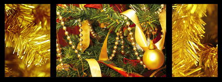 Toy bells hanging on green spruce branch decorated Stock Image