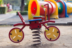 Toy bicycle. For children in playground Stock Images