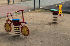 Toy bicycle. For children in playground Royalty Free Stock Images