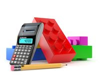 Toy block with calculator and pencil. Isolated on white background. 3d illustration Stock Photography