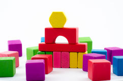 Toy block. Colorful wooden toy block isolate from white background Stock Photography