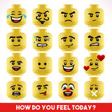 Toy Block Emoji Games Isometric. Toy Block Collection of Different Emoji Faces. Basic Toy Character Unconventional Emoticons. LoL Smiling Happy Worried Stock Photos