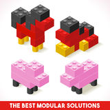 Toy Block Farm 04 Games Isometric. The Best Modular Solutions Isometric Basic Farm Animals Collection Horse and Pig Plastic Toy Blocks and Tiles Set. HD Quality vector illustration