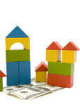 Toy block and money royalty free stock images