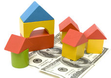 Toy block and money Royalty Free Stock Photo
