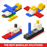 Toy Block Plane Ship Games Isometric Royalty Free Stock Photography