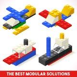 Toy Block Plane Ship Games isometrisch Lizenzfreie Stockfotografie