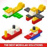 Toy Block Ship Plane Games isometrisch Stockbilder