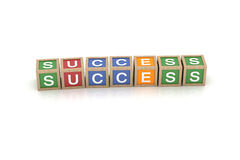 Toy Block with Success Word Stock Photo