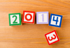 Toy block for 2013 to 2014 Royalty Free Stock Photography