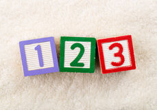 123 toy block. With towel background Stock Images