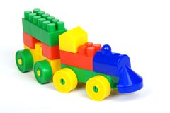 Toy block train. Toy train made of colorful building blocks Royalty Free Stock Images