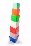 Toy blocks. Studio shot of some plastic toy blocks / a toy tower. Isolated. White background Stock Photography