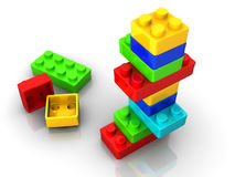 Toy blocks. Colorful toy blocks  on white backround - 3d render Stock Photography