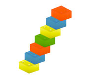 Toy Blocks. Colorful toy blocks on white background - 3d render Stock Photos