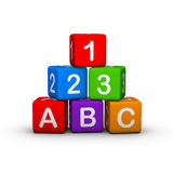 Toy Blocks. Educational Toy Blocks with letters and numbers Stock Images