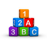 Toy Blocks. Educational Toy Blocks with letters and numbers Royalty Free Stock Photos