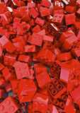 Toy blocks. 3D render of red toy blocks, easy to colorize Stock Photography