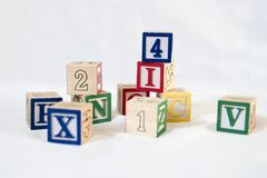 Toy Blocks. Blocks with numbers and letters in a stack stock photos