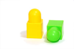 Toy blocks. Yellow and green toy blocks isolated on white Royalty Free Stock Photo