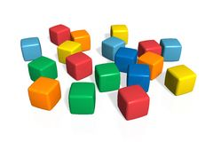 Toy blocks. Scattered colorful toy blocks isolated on white surface vector illustration