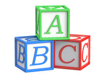 Toy blocks, abc cubes. 3D rendering stock illustration