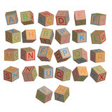Toy blocks alphabet in 3D disordered. Vector Royalty Free Stock Images